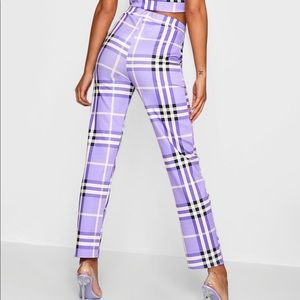 Checkered high waisted pants